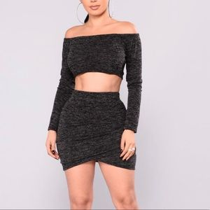 NWOT fashion nova Owen Off Shoulder Skirt Set  LG